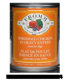 Four-Star Shredded Chicken in Gravy Entrée Food for Dogs